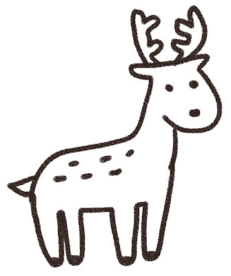 鹿のイラスト(動物) 白黒線画
