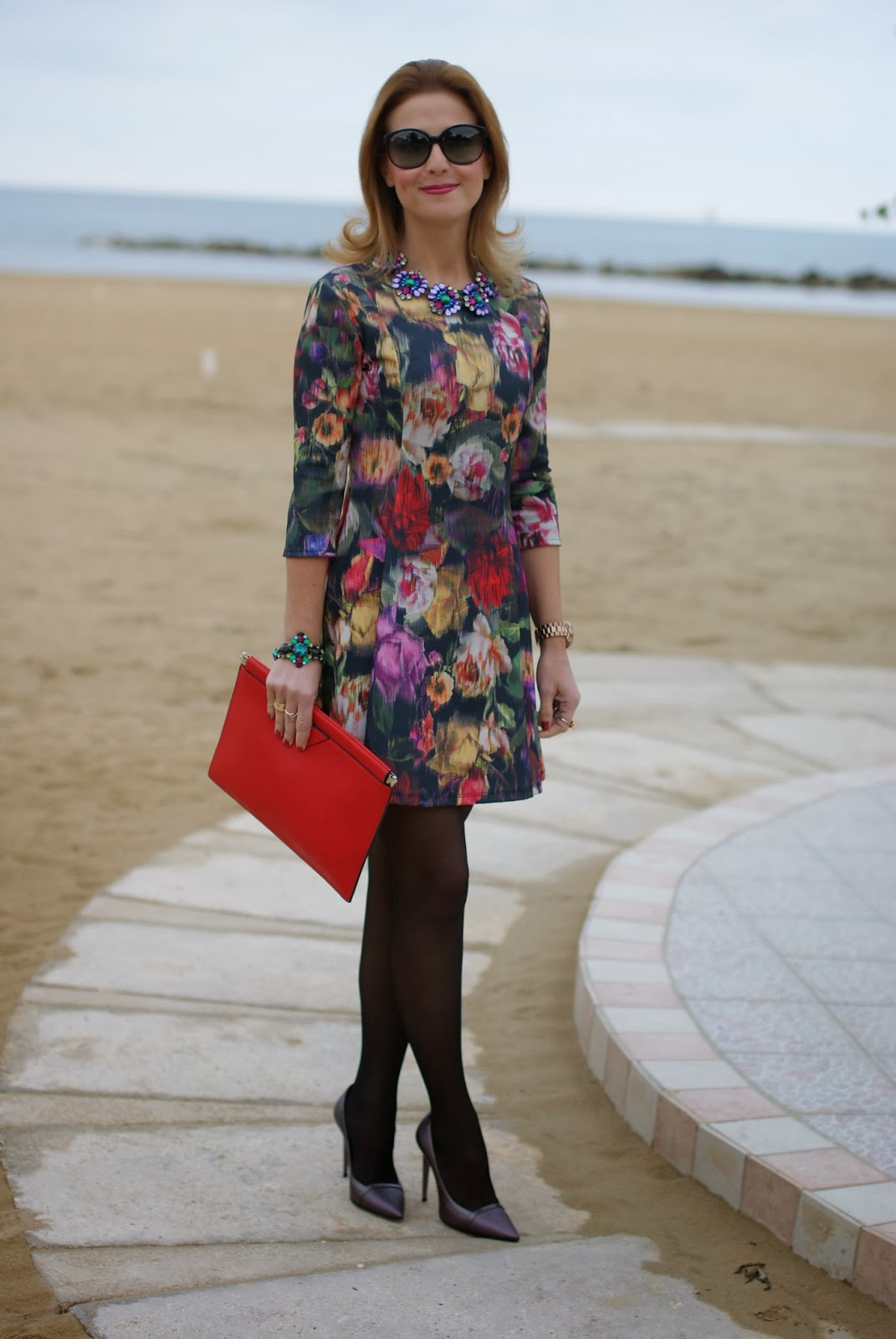 floral dress, Fabi pumps, amelie necklace, Mercantia gioelli, Fashion and Cookies, fashion blogger