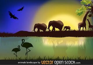 アフリカ野生動物のシルエット背景 African Landscape with Animals イラスト素材
