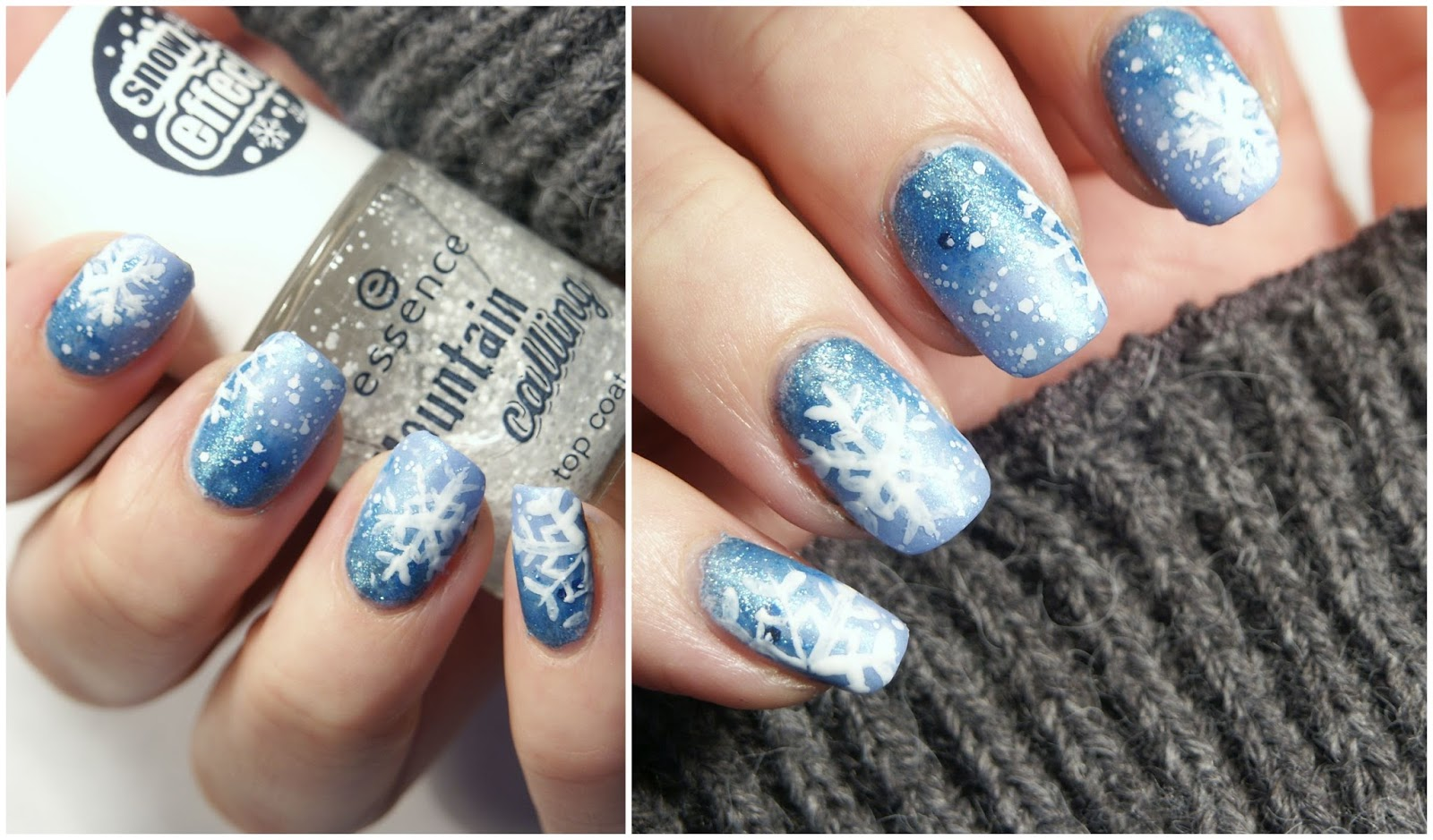 All about Nailart] Schneeflocken + snow effect Topper von essence ...