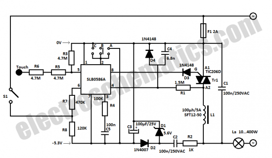 Circuit Project: Touch light dimmer circuit