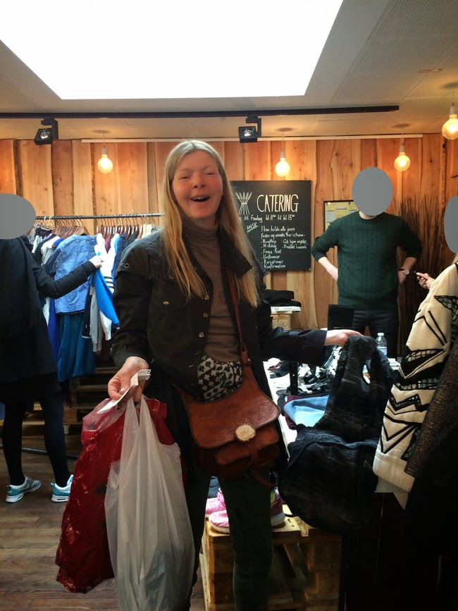 Kaffesoesters friend Hanne with purchases from bloggers market in Copenhagen