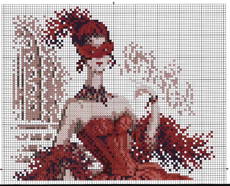 Дама в красном схема вышивки