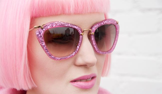 Miu Miu, pink sunglasses, glitter