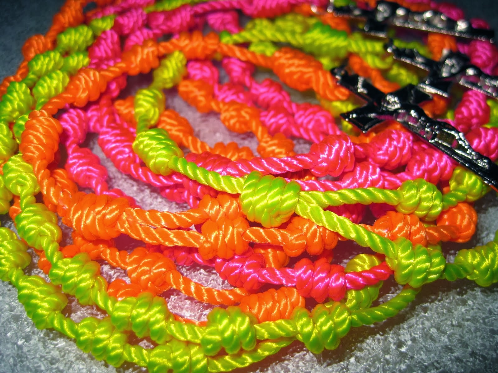 Retro Neon Twine Rosaries