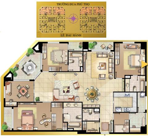 Vị trí và layout bố cục căn hộ Fleming ton 219m2