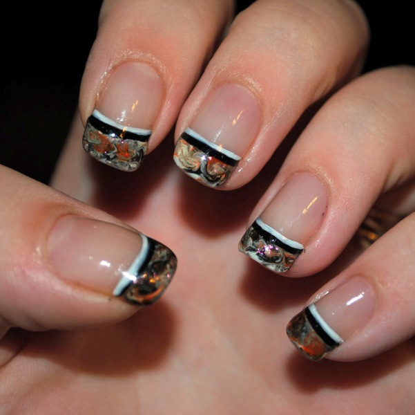 Camo French Tip Nail Design