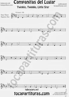 Partitura de Campanitas del Lugar para Saxofón Soprano y Saxo Tenor Villancico Christmas Carol Song Twinkle twinkle little  Sheet Music for Soprano Sax and Tenor Saxophone Music Scores