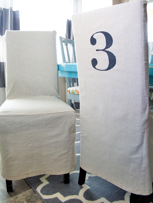 DIY Stenciled Parson Chair Slipcovers.