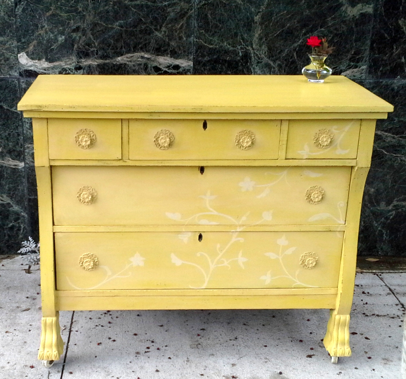 Yellow dresser beautiful solid wood hand painted dresser with subtle floral design
