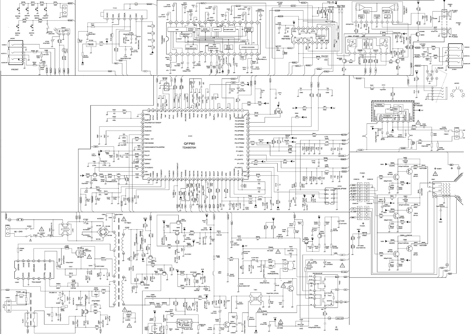 Crt Tv Schematic Diagram  Crt Tv Circuit Board Diagram