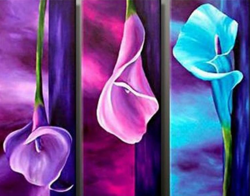 cuadros trípticos de flores al óleo flores en cuadros módulos de