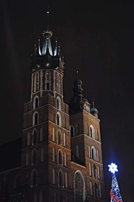 kraków, kraków nocą, świąteczny kraków, miasto nocą