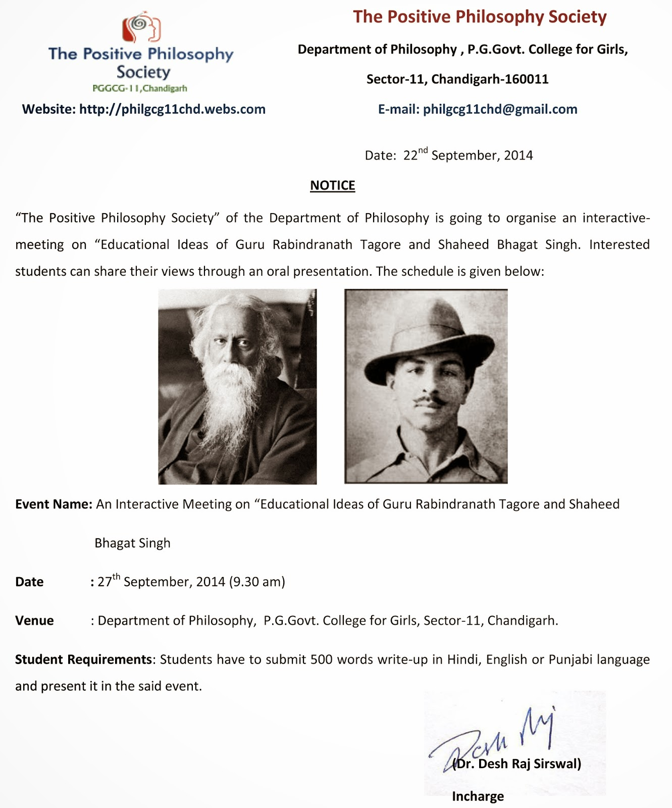 sppis haryana an interactive meeting on educational ideas of an interactive meeting on educational ideas of guru rabindranath tagore and shaheed bhagat singh