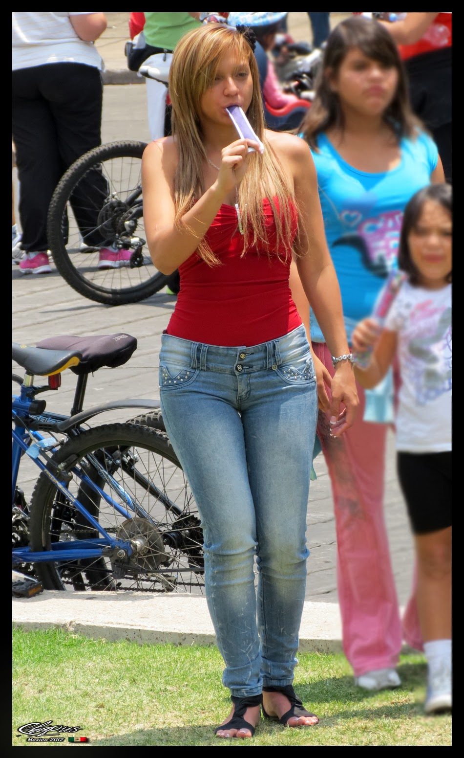 Sexy girls on the street, girls in jeans, spandex and leggings, tight