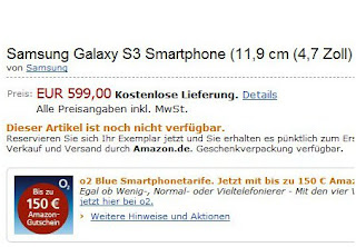 Samsung GALAXY S III Now Up for Pre-Order at Amazon Germany for 600 EUR (790 USD)