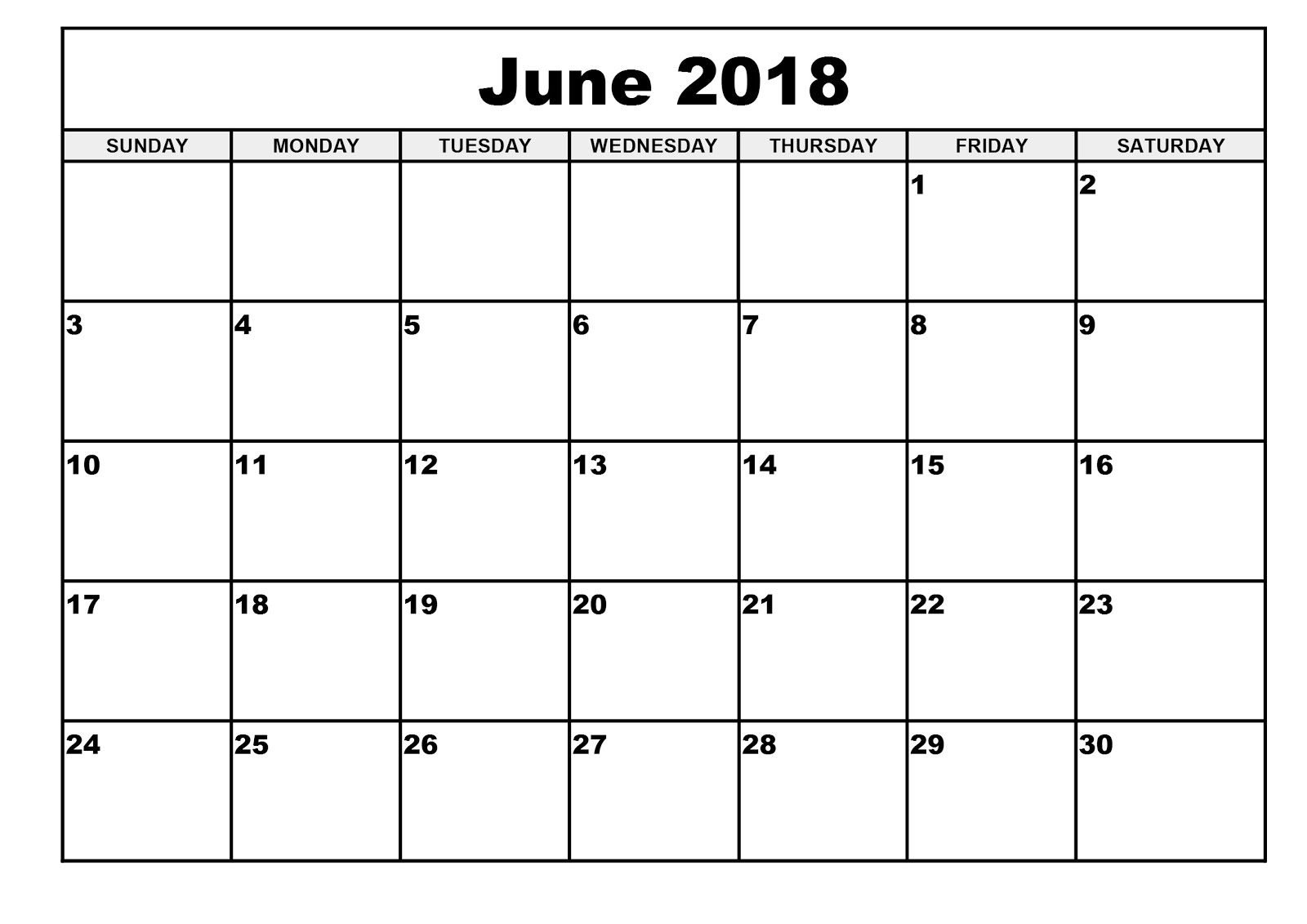 Download June 2018 Calendar Printable Templates - Webelator