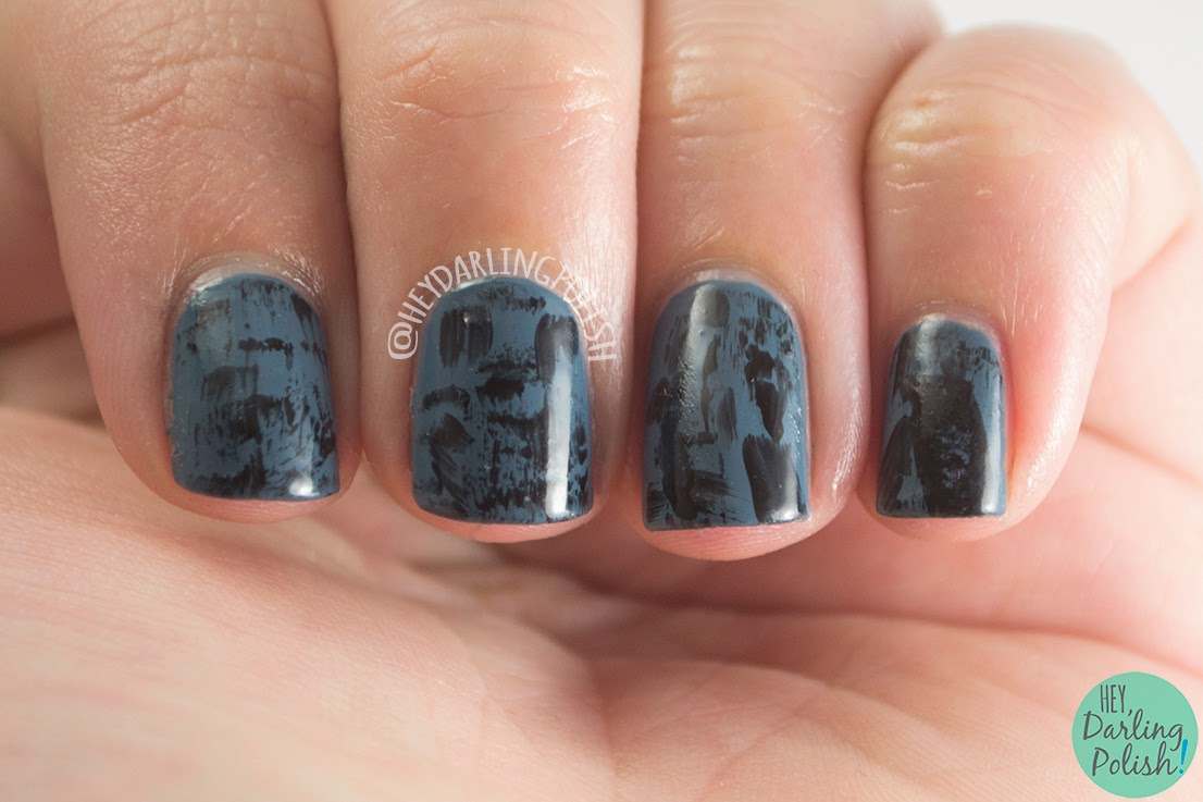 nails, nail art, nail polish, dark, blue, black, distressed, hey darling polish, oh mon dieu 2