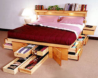 Modern home interior design practical storage under bed for Camas con cajones debajo