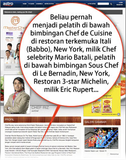 Gambar Chef Riz Palsukan Pengalaman Kelayakan Dalam MasterChef Malaysia