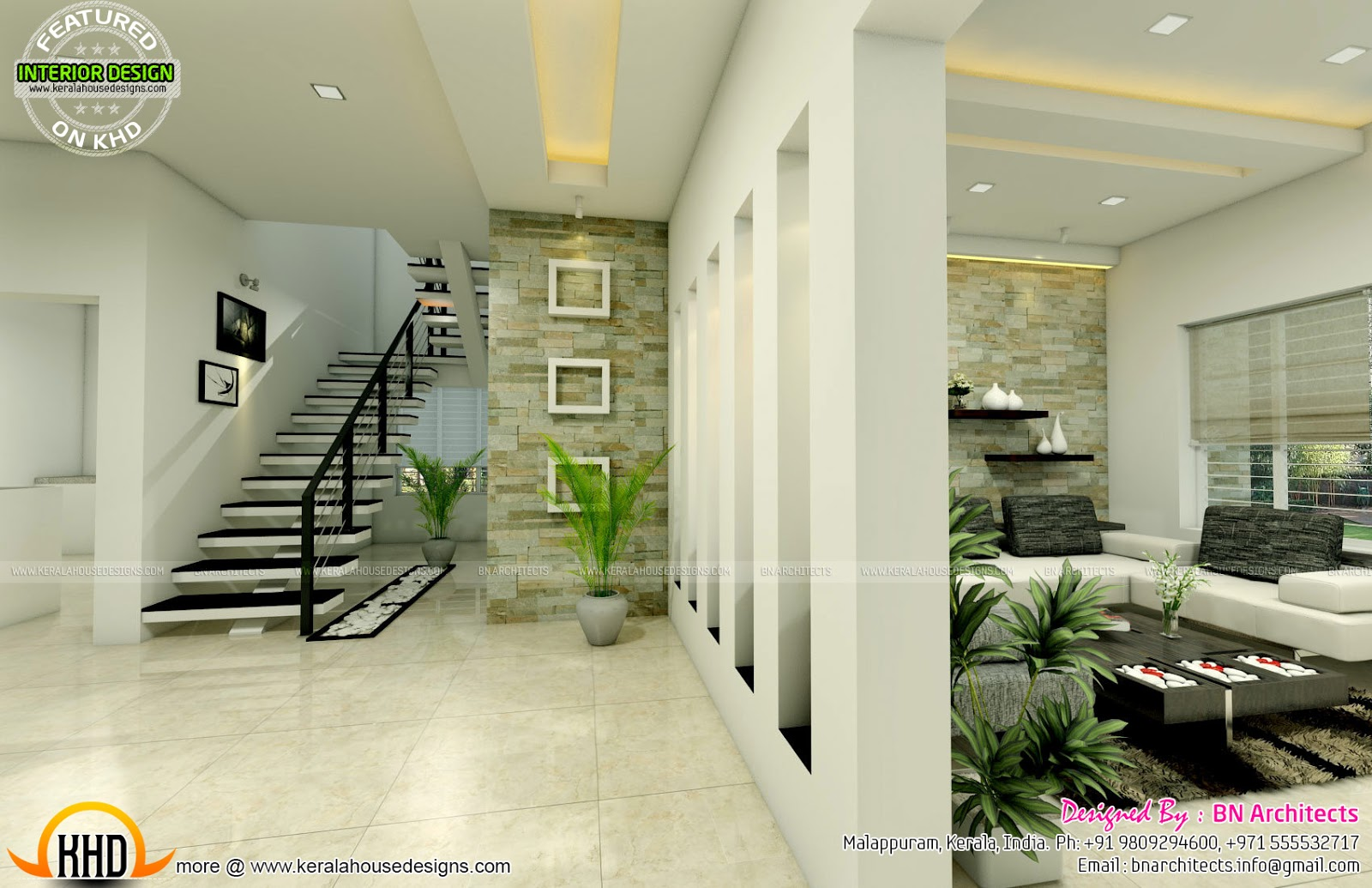 Ground Floor Elevation With Staircase : All in one house elevation floor plan and interiors