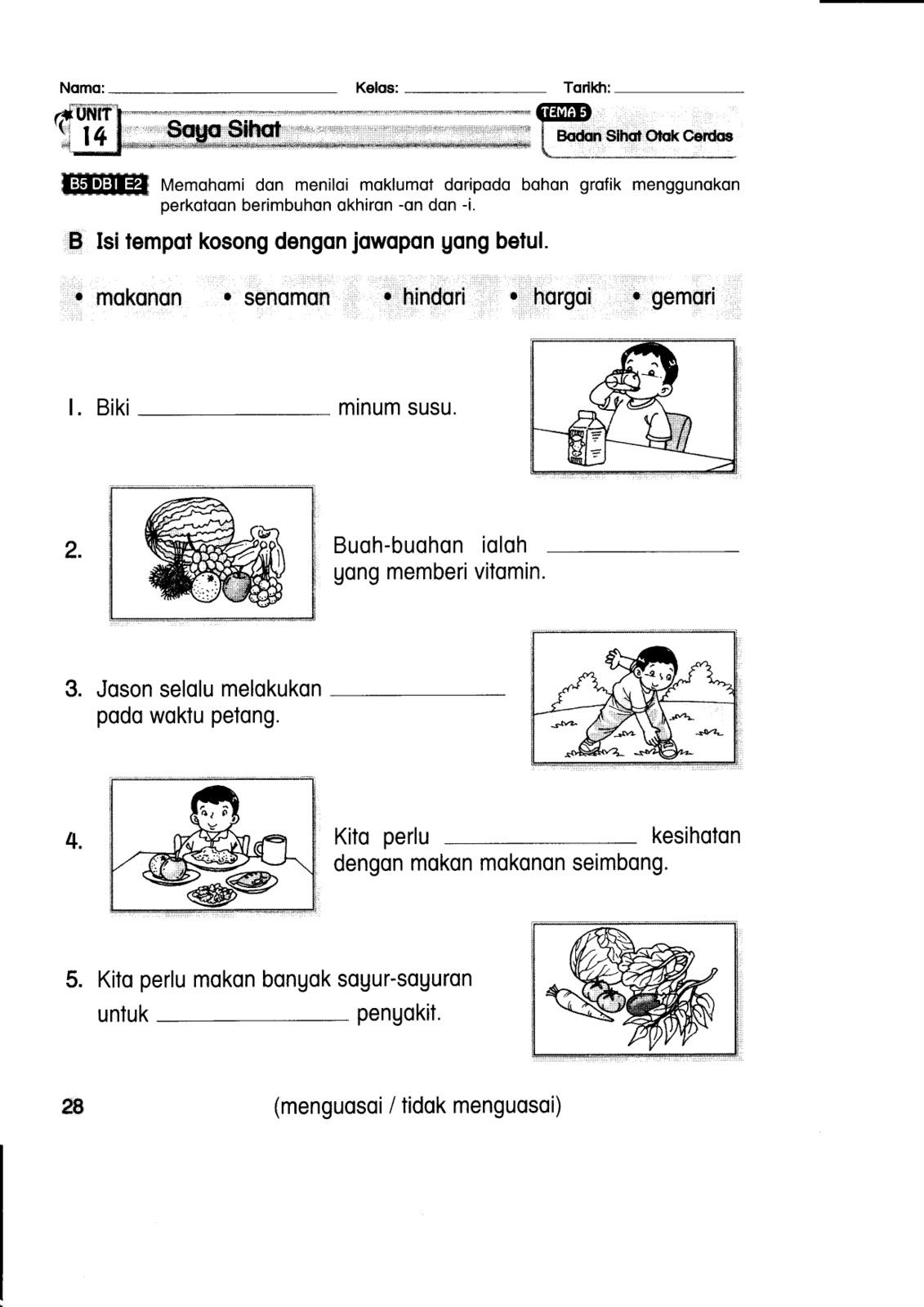 Bahasa Melayu Tahun 1 Latihan
