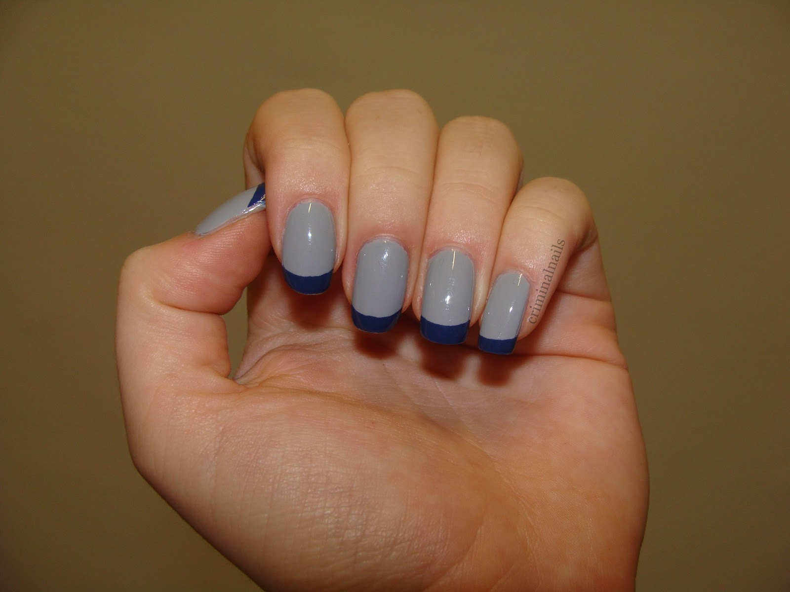 Criminal Nails: Blue and Grey french