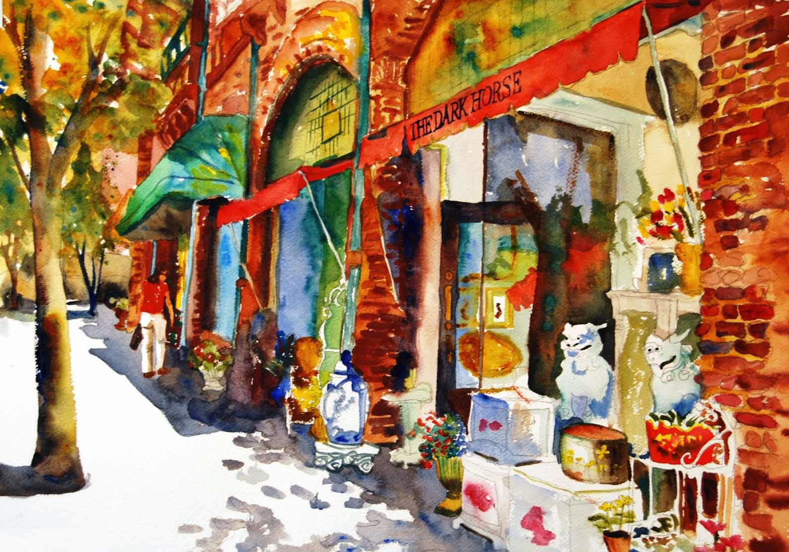 watercolor landscape by Miriam Schulman https://www.etsy.com/listing/73640595/cityscape-art-print-from-watercolor