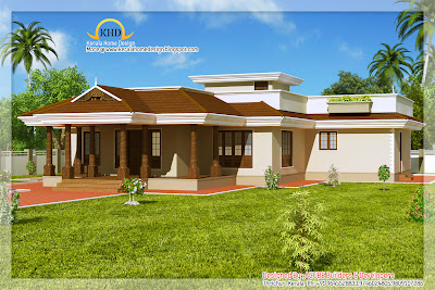 Kerala Style Single Floor House Architecture -  201 Square Meter (2165 Sq. Ft) - December 2011