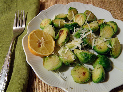 Plate of Sprouts with Cheese and Lemon