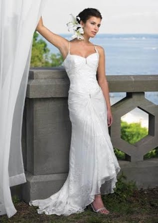 Romantic sleeveless beach Wedding Gowns