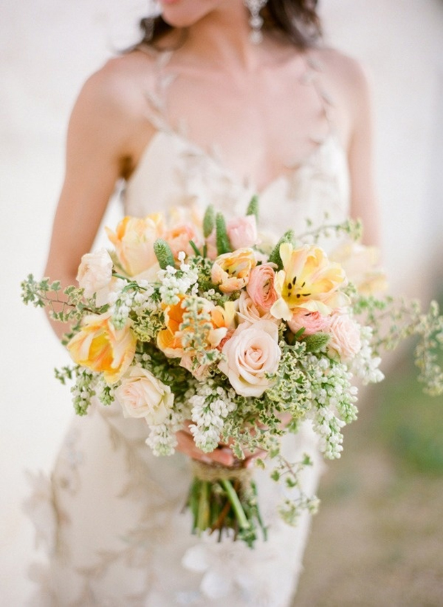 soft pastel yellow pink wedding bouquet