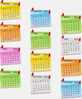Colorful florescent HD Design of printable calendar 2014