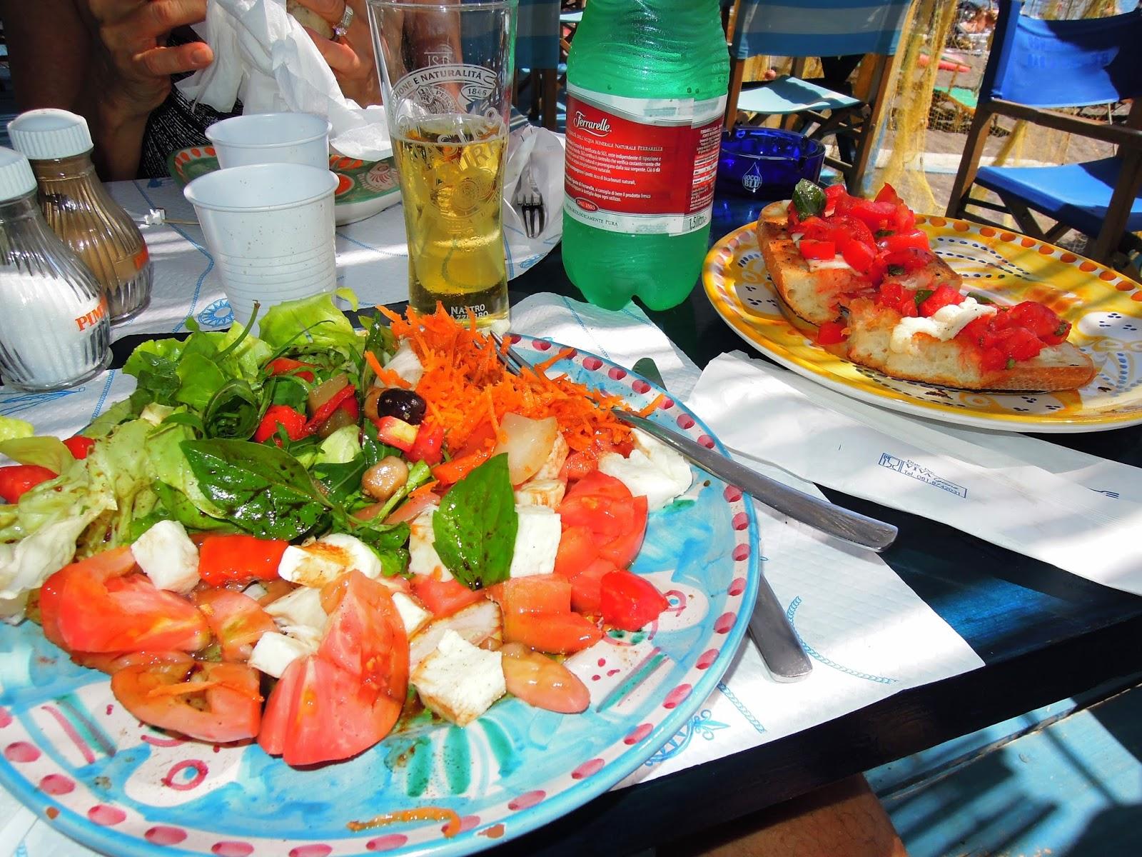 Fornillo Beach, Positano, Amalfi Coast, salad