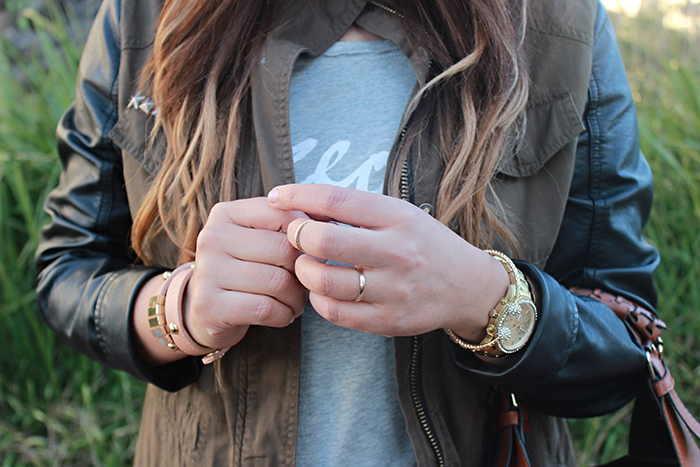 military jacket leather sleeves, mango t shirt, ombre hair, boyfriend jeans, gorgeous, ray ban aviators