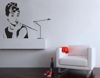 decoração com Audrey Hepburn adesivo de parede