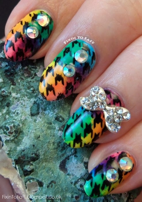 Rainbow Houndstooth nail art