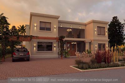 Renderizar arquitectura imagenes 3d renders fotorrealismo casa country en nordelta - Casas cuadradas modernas ...