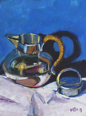 Acrylic painting of vintage chrome teapot