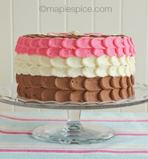 Neapolitan Layer Cake with Petal Frosting - vegan