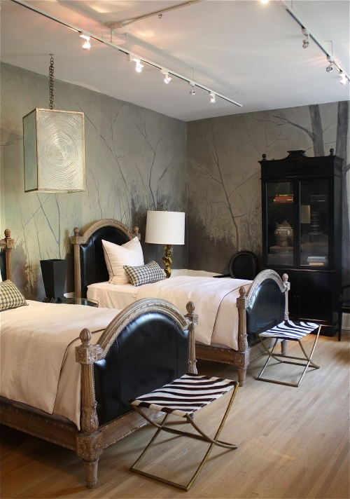 This a such a lovely grown up twin bedroom for married couples that need  separate beds  The grey cream color combination sets a peaceful stage for  sleeping. Eye For Design  Decorating With Grown Up Twin Beds