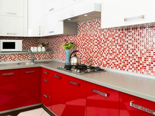 White And Red Kitchen Cabinets Furniture Modern Elegant Design Ideas With Tile Background Wall