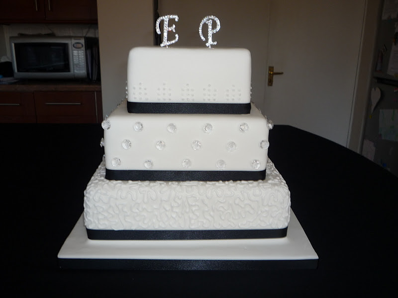 Black and White Square wedding cake with diamonte detail