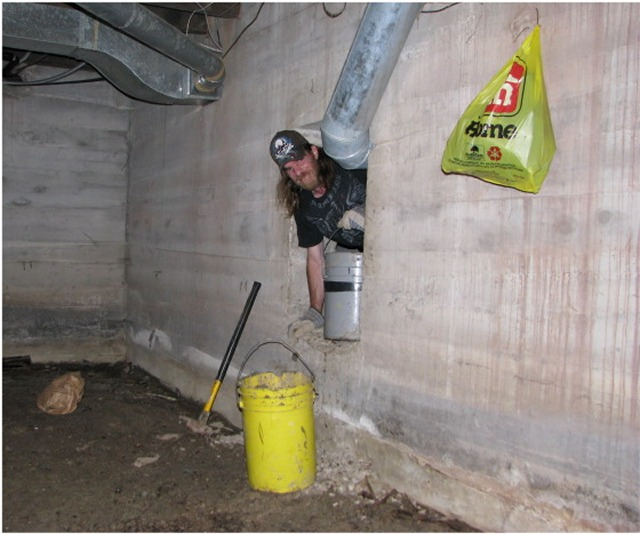 room basement digging the sump pit playing in soupy muddy water