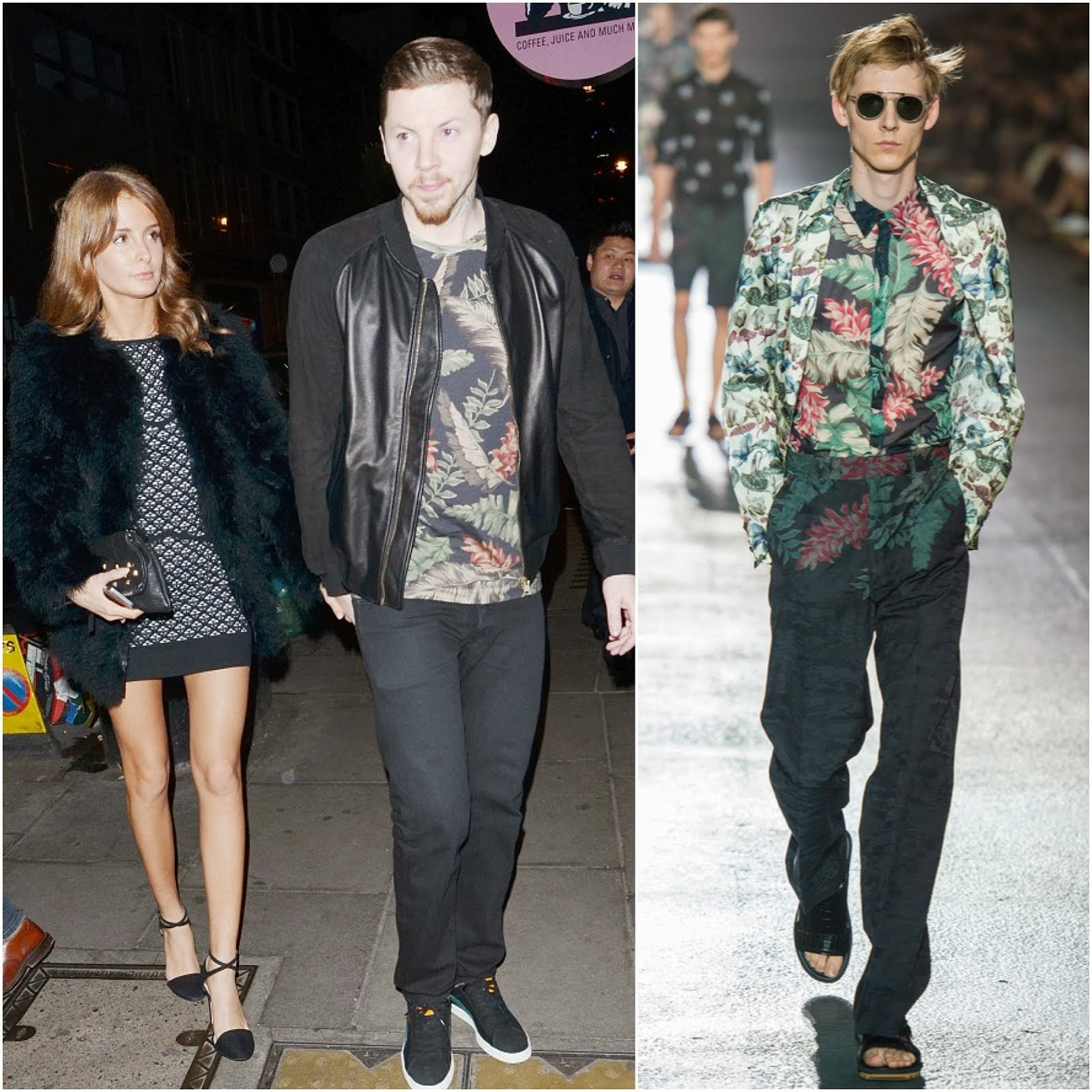 Professor Green's Dries Van Noten Floral Print Top - London Street Style