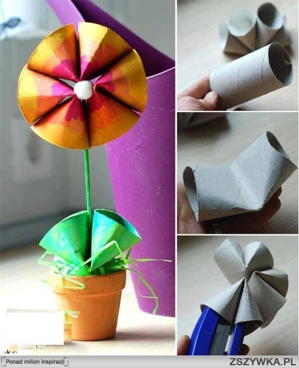 tambien puedes usar rollos de carton para hacer flores de manera facil y rapida puedes usar los tubos para hacer juguetes te invito a que visites la