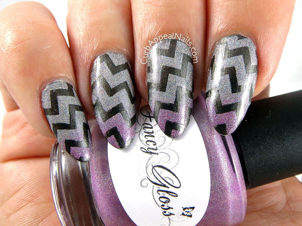 Chevron Nails: Fancy Gloss Silver Lotus over A England Dorian Gray
