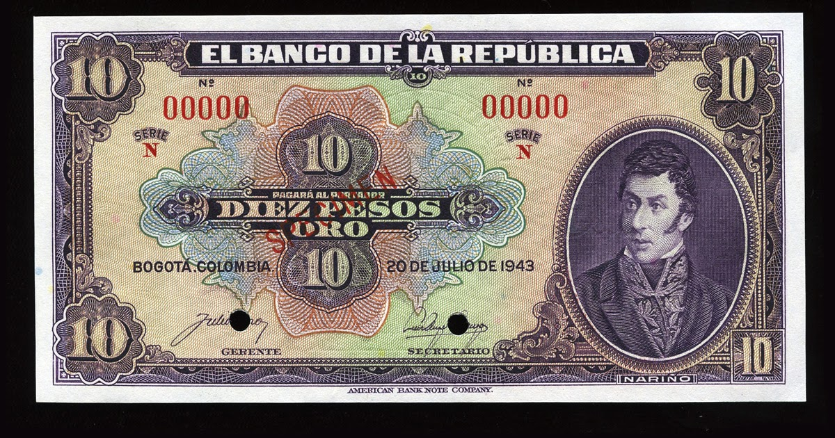 Currency Of Colombia 10 Pesos Oro Banknote Of 1943