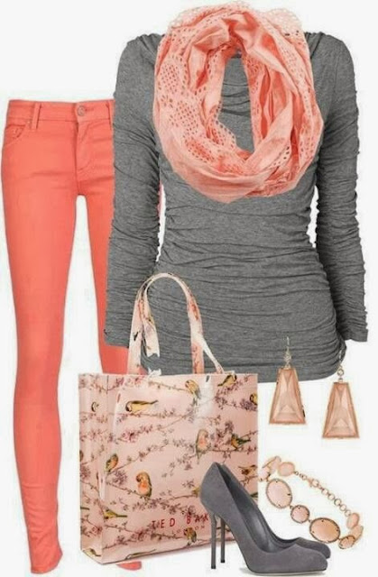 Orange pants, scarf, grey sweater, handbag and high heels for fall