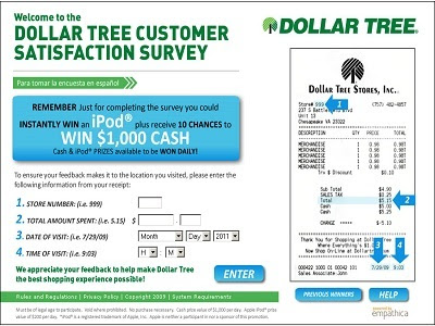 Dollar Tree Feedback Survey : Win iPod or $1,000
